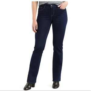 Levi's curvy boot cut jeans in dark wash.